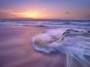 Sandy Beach at Sunset, Oahu, Hawaii by Tim Fitzharris/Minden Pictures
