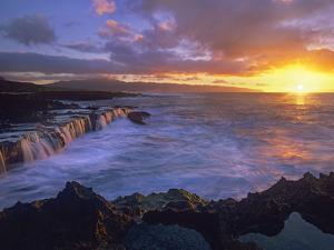 Sunset at Shark's Cove, Oahu, Hawaii by Tim Fitzharris/Minden Pictures