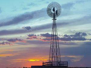 Windmill Producing Electricity at Sunset Example of Renewable Energy, North America by Tim Fitzharris/Minden Pictures