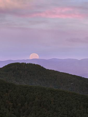 Moon at Massanutten Mountains from Shenandoah National Park, Virginia