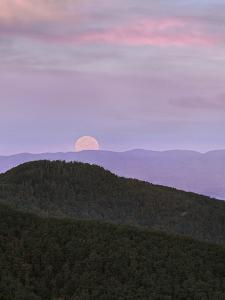 Moon at Massanutten Mountains from Shenandoah National Park, Virginia by Tim Fitzharris