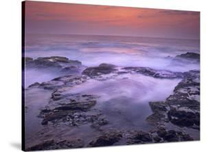 Ocean and lava rocks at sunset, Pu'uhonua, Hawaii by Tim Fitzharris