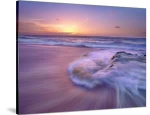 Sandy beach at sunset, Oahu, Hawaii by Tim Fitzharris