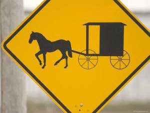 Amish Horse and Buggy Crossing Caution Sign, Pennsylvania by Tim Laman