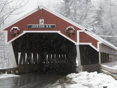 Traditional Covered Bridge on a Snowy Day in Jackson, Nh
