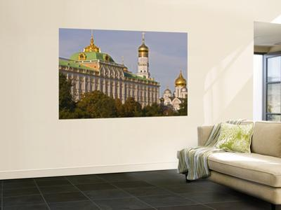 Green Copper Roofs and Golden Domes of Great Kremlin Palace