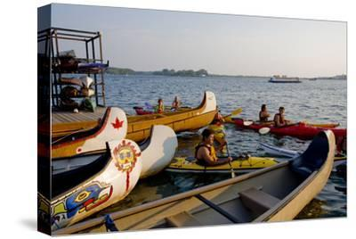Boaters at Harbourfront Kayak Centre in Toronto