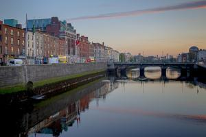 Looking West Along Liffey River in Downtown by Tim Thompson