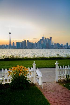 The Skyline of Toronto at Sunset from Front Yard of Home on Centre Island