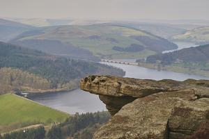 View from Hathersage Edge to Ladybower Reservoir and Derwent Valley, Peak District National Park, D by Tim Winter