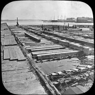 Timber Raft, Canada, Late 19th or Early 20th Century--Photographic Print