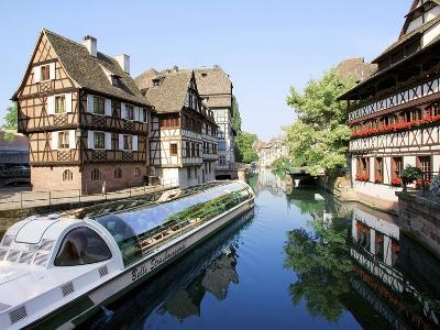 Timbered Buildings, La Petite France Canal, Strasbourg, Alsace, France-Miva Stock-Photographic Print