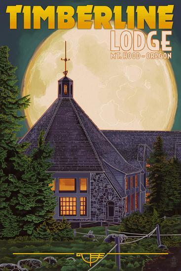 Timberline Lodge and Full Moon - Mt. Hood, Oregon-Lantern Press-Art Print