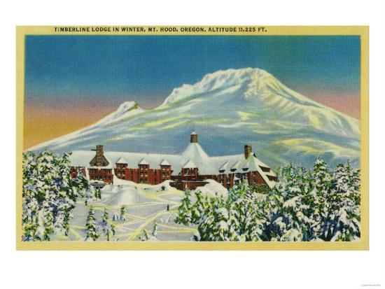 Timberline Lodge in Winter at Mt. Hood - Mt. Hood, OR-Lantern Press-Art Print