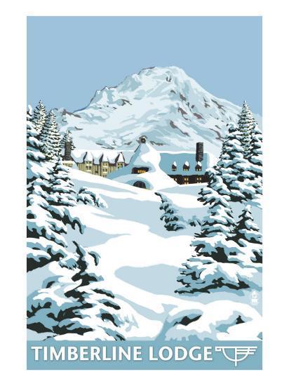 Timberline Lodge - Winter - Mt. Hood, Oregon, c.2009-Lantern Press-Art Print