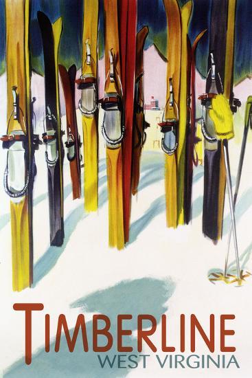 Timberline, West Virginia - Colorful Skis-Lantern Press-Wall Mural