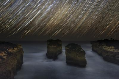 Time-Exposure of Star Trails Above the Shore of Southern Ocean in Victoria, Australia-Babak Tafreshi-Photographic Print