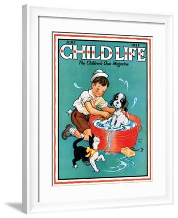 Time For a Bath - Child Life, June 1935-Clarence Biers-Framed Giclee Print