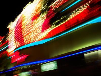 Time Lapse of Street and Casinos at Night in Las Vegas, Nevada--Photographic Print