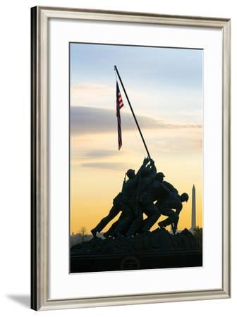 Time Lapse of the Statue of Iwo Jima U S Marine Corps Memorial at Arlington National Cemetery-Gavin Hellier-Framed Photographic Print