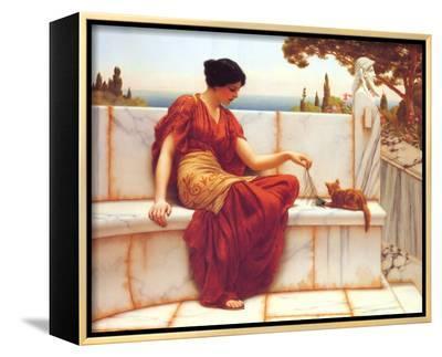 Time to Play-John William Godward-Framed Canvas Print