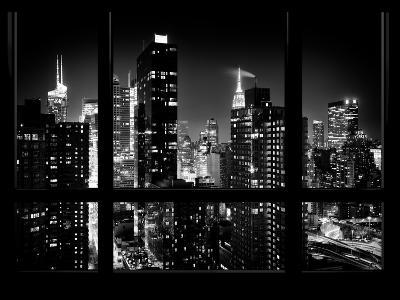 Times Square and 42nd Street with the Empire State Building by Night - Manhattan, New York, USA-Philippe Hugonnard-Photographic Print