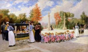 Promenade Des Enfants by Timoleon Marie Lobrichon