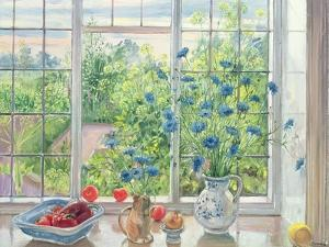 Cornflowers and Kitchen Garden by Timothy Easton