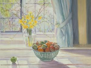 Fruit Bowl with Spring Flowers, 1990 by Timothy Easton