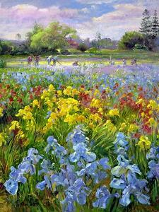 Hoeing Team and Iris Fields, 1993 by Timothy Easton