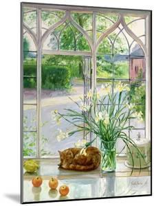 Irises and Sleeping Cat, 1990 by Timothy Easton