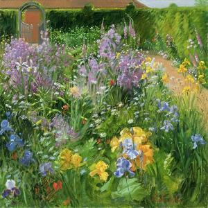 Sweet Rocket, Foxgloves and Irises, 2000 by Timothy Easton
