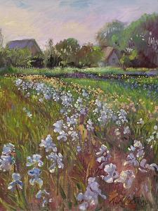 White Irises and Farmstead by Timothy Easton