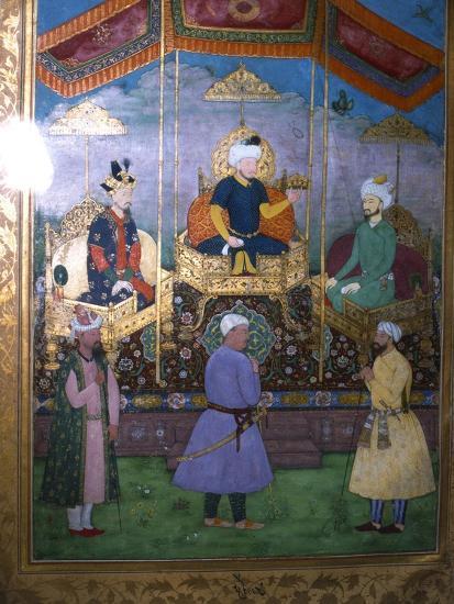 Timur hands his crown to Babur Mughal, c1630-Unknown-Giclee Print