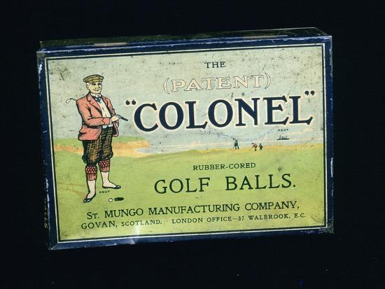 Tin of 'Colonel' golf balls, c1909-Unknown-Giclee Print