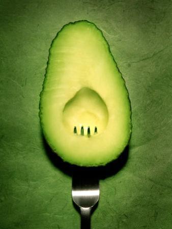Half an Avocado with a Fork