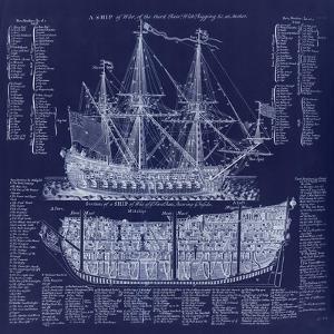 British War Ship Blueprint by Tina Lavoie