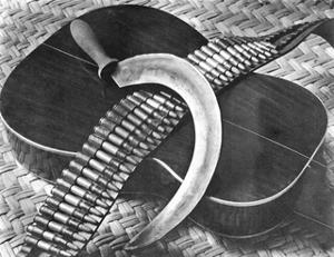 Mexican Revolution: Guitar, Sickle and Ammunition Belt, Mexico City, 1927 by Tina Modotti