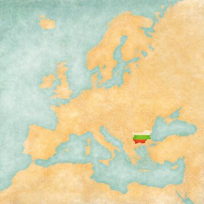 Map of Europe - Bulgaria (Vintage Series) by Tindo