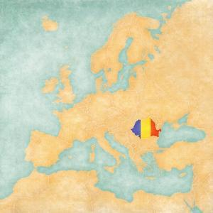 Map of Europe - Romania (Vintage Series) by Tindo
