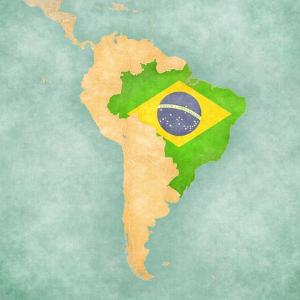 Map Of South America - Brazil (Vintage Series) by Tindo