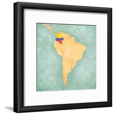 Map of South America - Colombia (Vintage Series)
