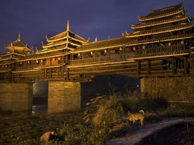 Chengyang Wind and Rain Bridge at Night by Tino Soriano