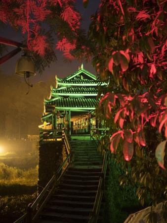 The Chengyang Wind and Rain Bridge Illuminated at Night by Tino Soriano