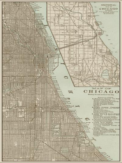Tinted Map of Chicago--Art Print