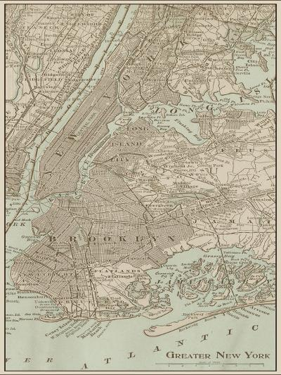 Tinted Map of New York--Art Print