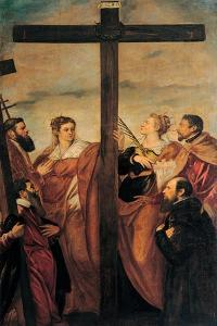 Adoration of the Cross (Sts. Helen, Barbara, Andrew, Macarius) by Tintoretto