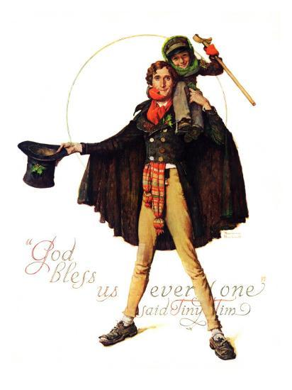 """""""Tiny Tim"""" or """"God Bless Us Everyone"""", December 15,1934 Giclee Print by Norman Rockwell 