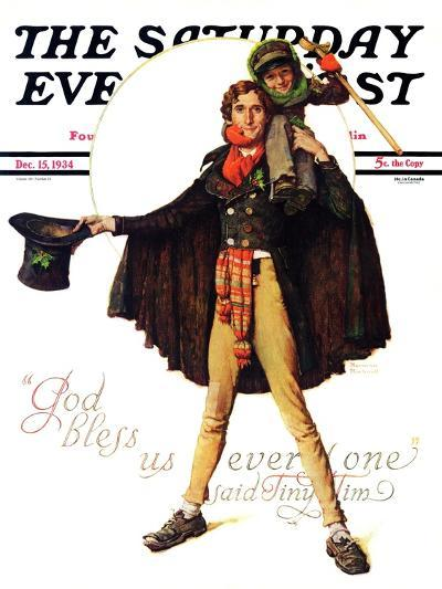 """Tiny Tim"" or ""God Bless Us Everyone"" Saturday Evening Post Cover, December 15,1934-Norman Rockwell-Giclee Print"