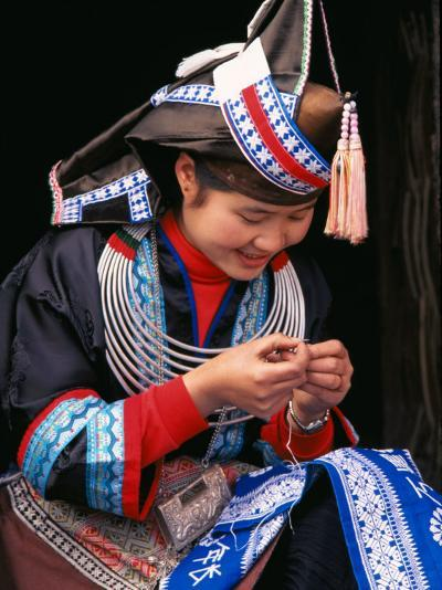 Tip-Top Miao Girl Doing Traditional Embroidery, China-Keren Su-Photographic Print